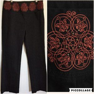 Anthro Elevenses Embroidered Crop Ankle Pants 8